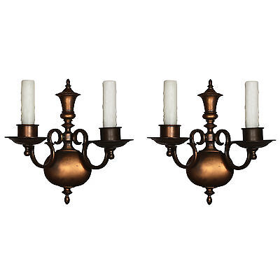 Handsome Pair of Antique Cast Bronze Sconces by Bradley & Hubbard, NSP941