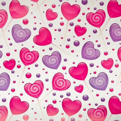 GIRLS birthday gift wrap wrapping paper 2 large sheets. Valentines pink Hearts