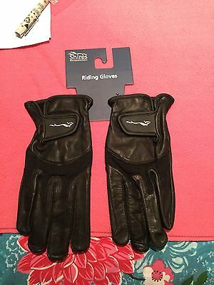 Shires leather gloves black LARGE New in Pack Horse Riding Gloves