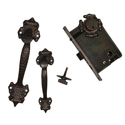 Antique Double Handle Thumb Latch Set w Lock, Welch, 2 Sets Available, NDKS288