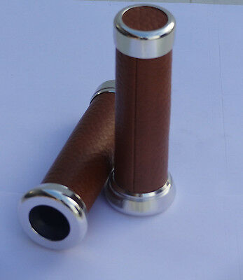 VESPA BROWN LEATHER GRIPS WITH ALLOY ENDS. PX SPRINT SUPER 180ss . 50/90/100