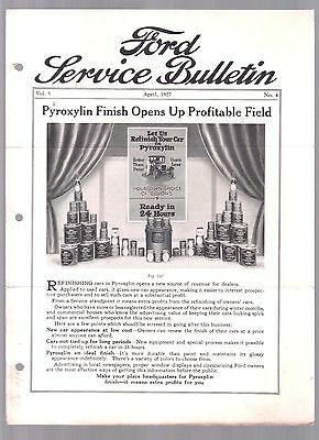 Rare 1927 Ford Service Bulletin Car Brochure