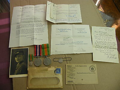 "WW2 ""ATS Medals"" group of medals to an ATS Woman soldier & paperwork.."