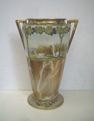 Nippon Vase Hand Painted With Swans On Lake Gold Beading Handled And Footed