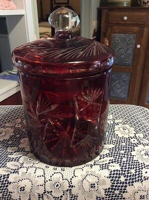 Beautiful Large Vintage Ruby Red Cut To Clear Crystal Glass Biscuit Jar