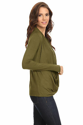 Women's Olive Long Sleeve Criss Cross Cardigan Small to 3XL Made in USA