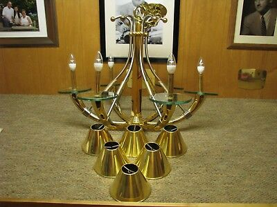 Modern Art Deco Style Brass 6-Arm Hanging Chandelier Fixture