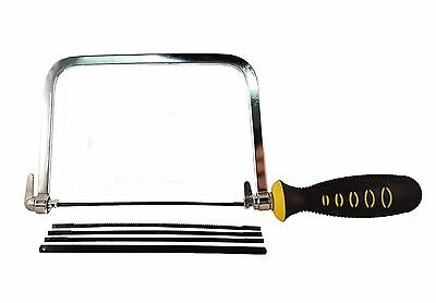 "6"" Coping / Fret Saw Soft Grip Handle Steel Metal Frame With 5 Blades"