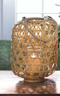 """Large Bamboo Woven Candle Lantern - 13 1/2"""" High - Wood, Bamboo & Glass - Brown"""