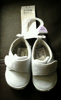 F&F baby blue striped booties bnwt 0-6 months