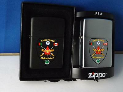Zippo Lighters Canadian Military Task Force Afghanistan Black Silver Lot Of 2