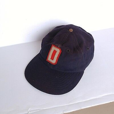 Antique Vintage 1940's-50's D Emblem Blue Wool Fitted Baseball Cap Leather band