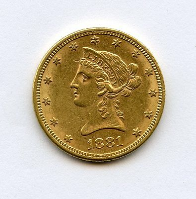 1881 $10 Liberty Gold Eagle Uncirculated With Full Luster