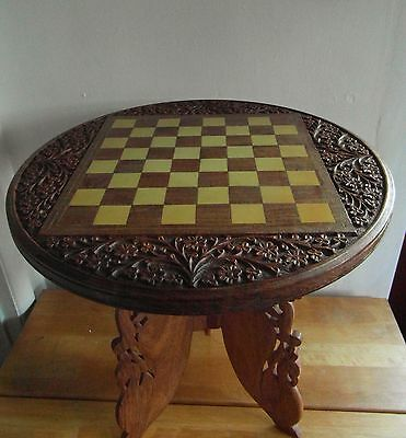 Chess Table with Hardwood Inlay Made in India