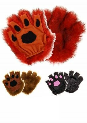 Furry Fingerless Animal Paw Gloves - Various Colored Paws!