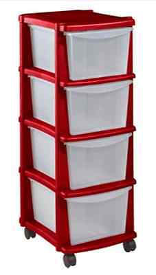 Keter 4 Drawer Plastic Tower Storage Unit Red RRP 14.99 lot GD 7290106921337