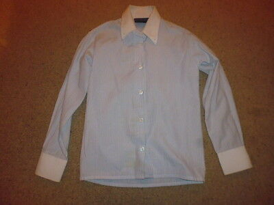 Pretty Ponies Child's Competition Show Shirt white/blue stripe age 7-8 years