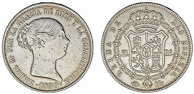 20 Silver Reales/plata. Isabella Ii-Isabel Ii. Madrid 1850 Cl. Vf+/mbc+.