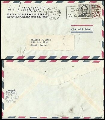 US,United States 1966 Cover to Korea,Save Water