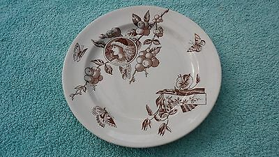 "ANTIQUE c1855/60 AESTHETIC MOVEMENT DEEP DISHED PLATE 9.1/2"" dia BUTTERFLY PTRN"