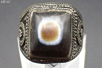Wonderful Ancient Layered Eye Agate stone Silver Mix Beaded Ring#161