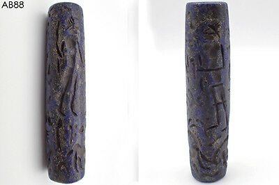 Very Old Lapis lazuli Battle Story intaglio Stone Rolling BEAD #088