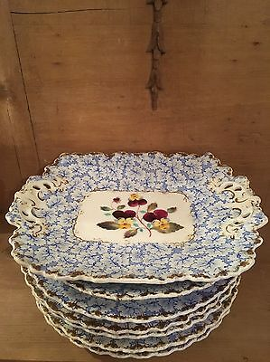 G & Co W English Grainger And Co Worcester Hand Painted Floral/ Gold Plates Set