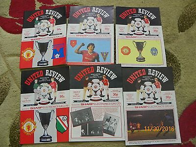 United Review - Manchester United various european cup winners Cup 6 programs