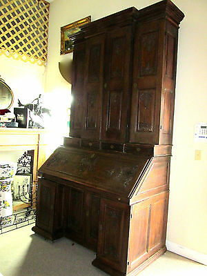 Antique French Oak Renaissance Bookcase / Cabinet w/ Drop Leaf Table