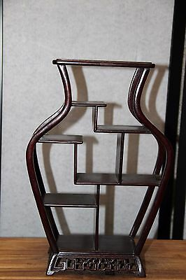 Old Estate Bonsai Display Table Stand Wood Ikebana Carved 9 Shelves 4 Small Pots