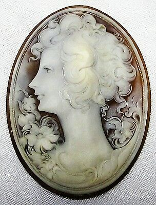 CAMEO, VERY LARGE OVAL, LADIES HEAD, 8.8 x 6.5 cm, PERFECT & MINT CONDITION