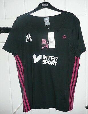 Adidas Ladies Olympique Marseille LARGE 16/18 Sports T Shirt BNWT  FRANCE