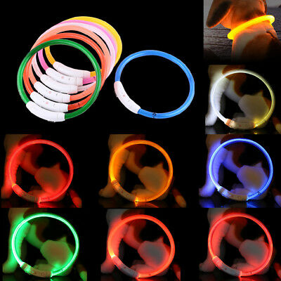 LED Pet Dog Collar Rechargeable USB 50cm Adjustable Flashing Safety In Night Fit