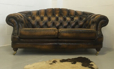 Superior Quality  Vintage Brown Tan Leather Thomas Lloyd Chesterfield Sofa