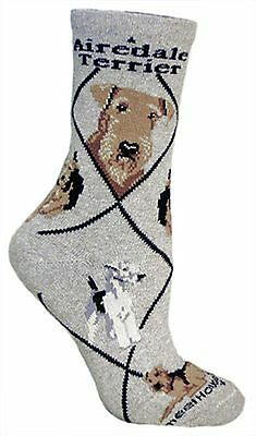 Airedale Terrier Dog Design Adult Novelty Socks In Grey - Great Gift Idea PH863
