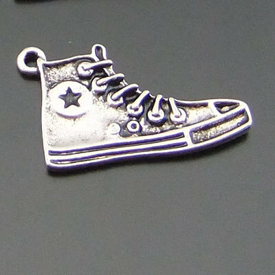 **10PCS Antiqued Silver Alloy Star Sport Shoes Sneakers Necklace Pendant Charms