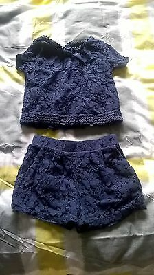 """""""Next"""" Girls 3yrs Navy Lace Effect 2piece Party outfit"""
