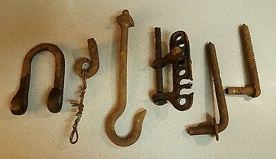 6 Antique Assorted Iron Metal Farm Barn Door Gate Hardware Repurpose Steampunk