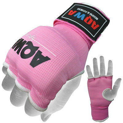 Inner Hand Wraps Gloves Boxing Fist Padded Bandages MMA Gel Muay Thai Pink, XL
