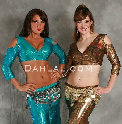 AKHET Holographic Lycra Mock Wrap Top by Off The Nile