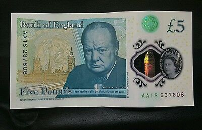 new AA18 £5 Bank note