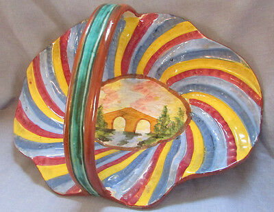 Vintage Italy Majolica Art Pottery Basket Assisi Scenic Aqueduct/Bridge Colorful