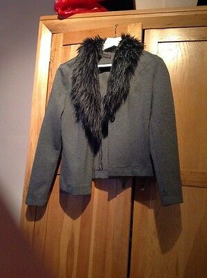 ladies grey jacket with faux fur collar size 12 river island
