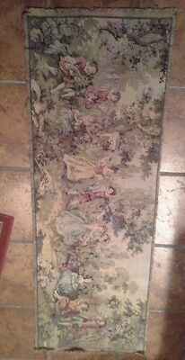 A nice Antique  French wall tapestry courtyard figures  scene 19&1/2x55&1/2