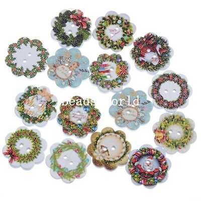 100 Pcs Wood Sewing Buttons Scrapbooking Decoration Christmas Wreath Shape 20mm