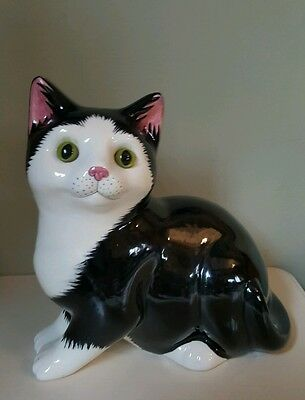 Staffordshire Just Cats & Co Black and White Glass Eyed Cat