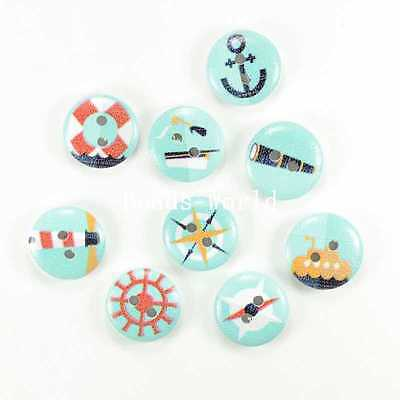100 Pcs Mixed 2 Holes Wood Sewing Buttons Scrapbooking Nautical Pattern 15mm