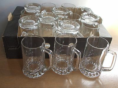 16 x VINTAGE 1/2 PINT GLASS BEER TANKARDS. COLLECTION ONLY FROM MAIDENHEAD