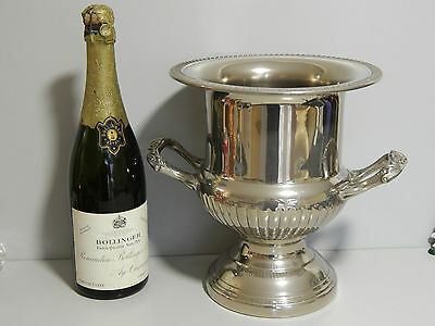 """Vintage Silver plate Champagne / wine cooler larger 10"""" tall"""