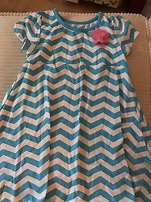EUC Falls Creek Chevron Blue Flower Appliqué Girls Top Tunic Dress Shirt 5T